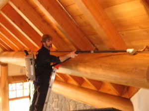 High dusting a Log Home